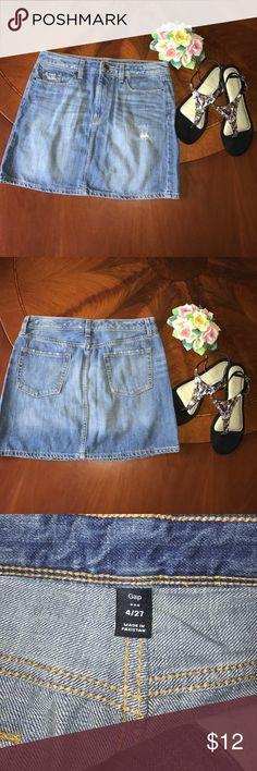 Gap Distressed Denim Mini Skirt. Size 4. Gap distressed denim mini skirt. Length- 15 inches. Size 4. GAP Skirts Mini