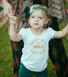 She Leaves A Little Sparkle Puff Sleeve Baby Tee