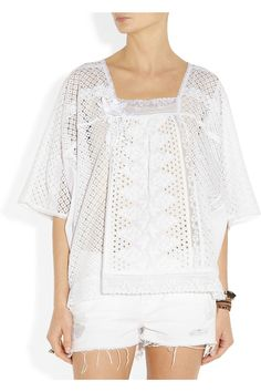 Anna Sui | Lace-trimmed embroidered cotton eyelet top | NET-A-PORTER.COM