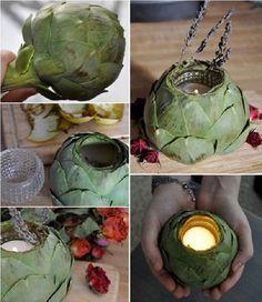 alcachofa titular de la vela tutorial - Al pensar en las alcachofas no tenían ningún uso más, pueden servir como soportes para velas que buscan maravillosas y originales.