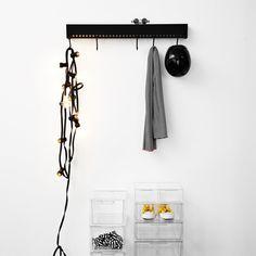 Nomess - So-Hooked Wandgarderobe, schwarz, 90 cm, Ambientebild
