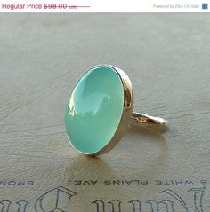 SPRING SALE Cocktail ring Aqua Chalcedony ring Oval di anakim