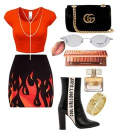 """FLAMING HOT HOE 🔥"" by serenadarwiche on Polyvore featuring Havva, Chanel, South Moon Under, Urban Decay, Givenchy and Gucci"