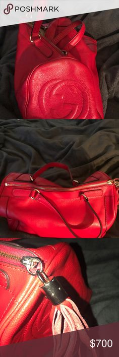 Gucci Red leather Gucci Gucci Bags Totes