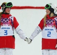 Canadian sisters Justine and Chloe Dufour-Lapointe topped the podium in Ladies' Moguls. - Justine took home gold while Chloe nabbed silver. A third sister, Maxime, finished Winter Olympics 2014, Summer Olympics, Freestyle Skiing, Le Double, Justine, Winter Games, Team Usa, Olympians, Olympic Games
