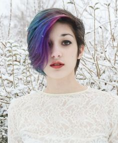 Galaxy hair color is the hair trend of the moment -- Last summer we had pastel hair, but the latest rainbow hair color trends for winter are giving us darker, richer tones. 2015 Hairstyles, Pretty Hairstyles, Girl Hairstyles, Rainbow Hairstyles, Scene Hairstyles, Elegant Hairstyles, Hairstyle Ideas, Gefärbter Pony, Short Punk Hair