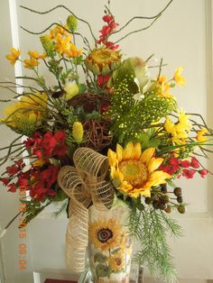 Sunflower floral Arrangement by 4Seasonsflorals on Etsy