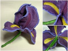 crochet iris.  Beautiful reminder of a dear friend who died at age 99. :) @ Afshan Shahid