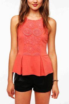Orange Crochet Inset Peplum Tank Top