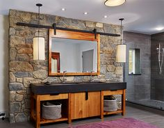 Photo from the Marvin Windows and Doors gallery sliding mirror.  Like idea for medicine cabinet storage