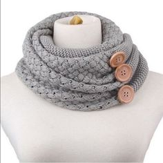 COMING SOON! Grey Knit Neck Warmer w/ Buttons Pre-Order. Arriving week of 12/28 Accessories Scarves & Wraps
