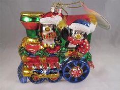2012 Radko Sparkle Bright Christmas Glass Ornament Penguins On Train NWT