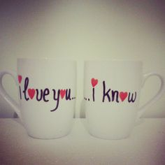 I Love You I Know Coffee Mugs// Set of 2 by OneCreativeButterfly, €16.00