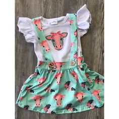 Teal cow suspender set Cute Baby Girl Outfits, Kids Outfits, Baby Girl Fashion, Kids Fashion, Everything Baby, Baby Kids Clothes, Baby Time, Just In Case, Toddler Girl