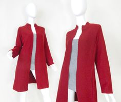 Vintage 90s Red Wool Long Sweater Coat - Women's Structured Minimalist Open Front Sweater Jacket - Size Small