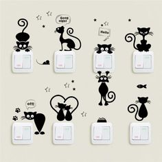 Cheap Wall Stickers, Buy Directly from China Suppliers:Lovely Cat Light Switch Phone Wall Stickers For Kids Rooms Diy Home Decoration Cartoon Animals Wall Decals Pvc Mural Art Mural Art, Wall Art, Wall Painting Decor, Creative Wall Painting, Cat Light, Animal Wall Decals, Pvc Wall, Wall Stickers Home Decor, Ornaments