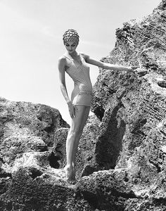 Anne St. Marie on tip-toes in a skirted swimsuit for Saks, 1958  All Rights Reserved: Tom Palumbo