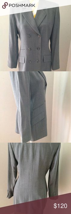 "Burberry grey jacket blazer Elegant Burberry women's jacket blazer US size 6 - Medium  Measurements: shoulder: 16"" (40.5cm), Sleeve length: 23"" (58cm), jacket length: 29""( 73.5), bust: 38"" Color: Gray In very good condition Burberry Jackets & Coats Blazers"