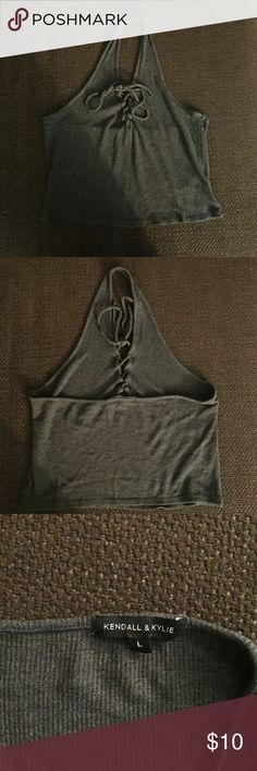 Grey Halter Top - Kendall & Kylie brand - Heather grey color  - Soft cotton material - Size Large - Lightly used Kendall & Kylie Tops Crop Tops