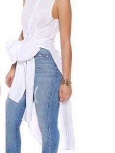 White Bow Tie Collar Sleeveless Hi-lo Blouse   Choies  #clothings #fashionapparel #trend #gift #stylish #sale #style #fashion #Cardigan #apparel #clothing #clothingline #christmas #palysuit #shoes #boot #plimsolls #shippingonline #newarrivals