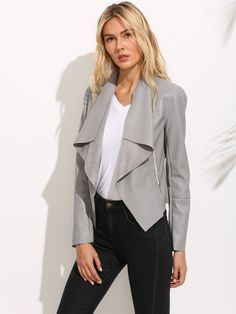 Buy Gray SheIn Leather jacket for woman at best price. Compare Jackets prices from online stores like SheIn - Wossel United States Waterfall Leather Jacket, Grey Leather Jacket, Leather Jacket Outfits, Waterfall Cardigan, Pu Leather, Coats For Women, Jackets For Women, Women's Jackets, Blazers