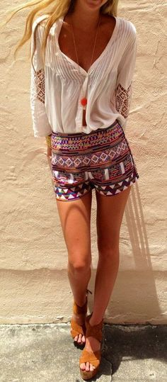Multicolor Geometric Print Elastic Waist Slim Fashion Dacron Shorts - Shorts - Bottoms