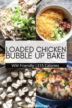 My Loaded Chicken Bubble Up is one of the best recipes for a delicious and creamy lightened up casserole. Made with chicken biscuits sour cream cream of chicken soup and more its the ultimate comfort food! Skinny Recipes, Ww Recipes, Chicken Recipes, Cooking Recipes, Healthy Recipes, Cream Cream, Sour Cream, Weight Watcher Dinners