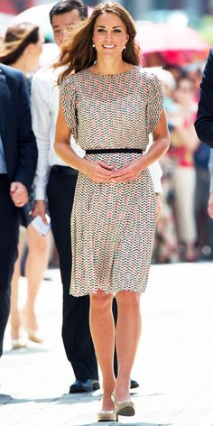 Catherine Middleton toured Singapore in Raoul's printed ensemble, drop earrings and nude pumps.