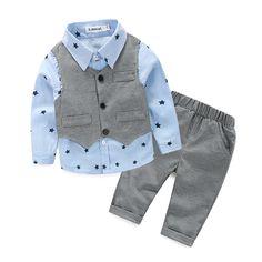 [Lucky & Lucky] nieuwe stijl pasgeboren baby gentlemen jongen 3 stks/set kleding set shirt + vest + toevallige broek kwaliteit babykleertjes