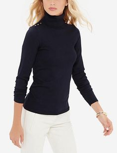 Buttoned Shoulder Turtleneck Sweater from THELIMITED.com