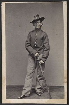 "Frances Clalin Clayton, woman who disguised herself as a man, ""Jack Williams,"" to fight in the Civil War, wearing uniform. Known by her married name of Frances Clayton, she took up all the manly vices. To conceal her sex, she learned to drink, smoke, chew, and swear. She even gambled, and a fellow soldier declared that he had played poker with her on a number of occasions. Frances and her Husband Elmer served side by side during the American Civil War until 1863, when he died in battle."