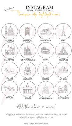 World landmark line art icons set by Microvector on Looks Instagram, Get Instagram, London Instagram, Instagram White, Instagram Story, Instagram Travel, City Icon, Custom Icons, Insta Icon