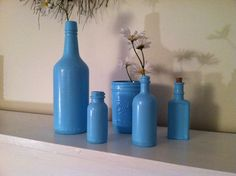 Blue+vintage+bottles+by+Memesgeneralstore+on+Etsy,+$22.00