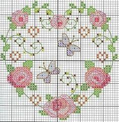 Sweet home : Romantilised roosid Butterfly Cross Stitch, Cross Stitch Heart, Cross Stitch Cards, Cross Stitch Flowers, Counted Cross Stitch Patterns, Cross Stitch Designs, Cross Stitching, Embroidery Hearts, Cross Stitch Embroidery