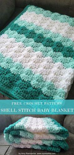 Shell Stitch Baby Blanket Free Crochet Pattern   DIY