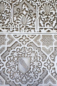 closeup of a plaster wall in the Alhambra Palace Granada Andalusia Spain Stock Photo Alhambra Spain, Andalusia Spain, Granada Spain, Tile Patterns, Pattern Art, Textures Patterns, Islamic Patterns, Islamic Architecture, Art And Architecture