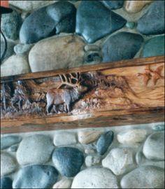 wood carved mantel