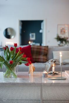 Inside A House, House Interiors, Helsinki, Living Room Interior, White Christmas, Sweet Home, December, Table Decorations, Flowers