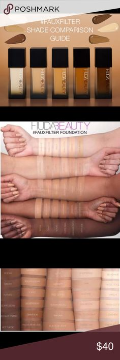 Huda Beauty Faux Filter Foundation 100% Authentic. New/unused. Sample Huda Beauty primer included. Shades available are: Macaroon, Butter Pecan, Cheesecake, Baklava, Macaroon, Brown Sugar, Toffee, Nutmeg, Chocolate Mousse, Mocha, Coffee Bean, Chocolate Truffle, Gingerbread. Huda Beauty Makeup Foundation