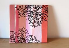 Canvas painting - pink and antique-y haha