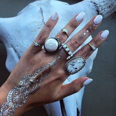 white stacked rings