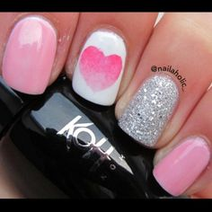 Adorable valentines day nail art