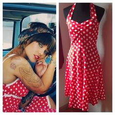 Polka Dot Pin Up Girl Halter Dress Vintage inspired halter dress. Zips up back and ties at neck. Please note how sheer this dress is. Add a petticoat or slip to complete look or wear with a swim suit underneath and be your sexy self on a summer day. Listed as Large. For reference, my mannequin is size 6-8 (34-26-35). It is slightly large on her. Brand new in factory bag. Lucky Mia Dresses Midi
