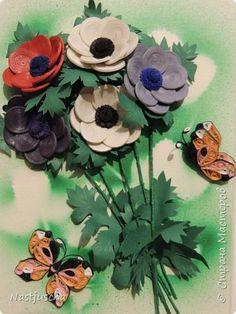 Slikarstvo paneli obrazac nabran porub Papir Leptiri i anemone benda fotografije 5