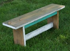 Rustic Bench. This one would match our dining room table perfectly!!!  Shabby Chic  Teal/ white  bench by FurnitureFarm, $169.00