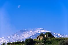 Ruins under the volcano - Ruins under the volcano Etna and the Moon in the morning