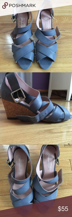 Shoes of Prey Sandal Wedges A navy blueish-gray color. Women's size 36.5 (US 6.5) Only worn a few times Shoes of Prey Shoes Wedges
