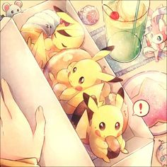 this is a cute pokemon anime wallpaper. There is a lot of pikachus inside your lunch box. There are other tinny pokemon as well.: