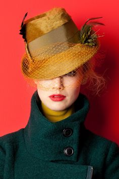 Yellow Velour Trilby with Wide Ribbon Band, Feathers & Face Veil ....