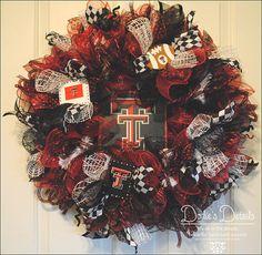 Texas Tech deco mesh wreath.  Show your spirit by DodiesDetails, $125.00